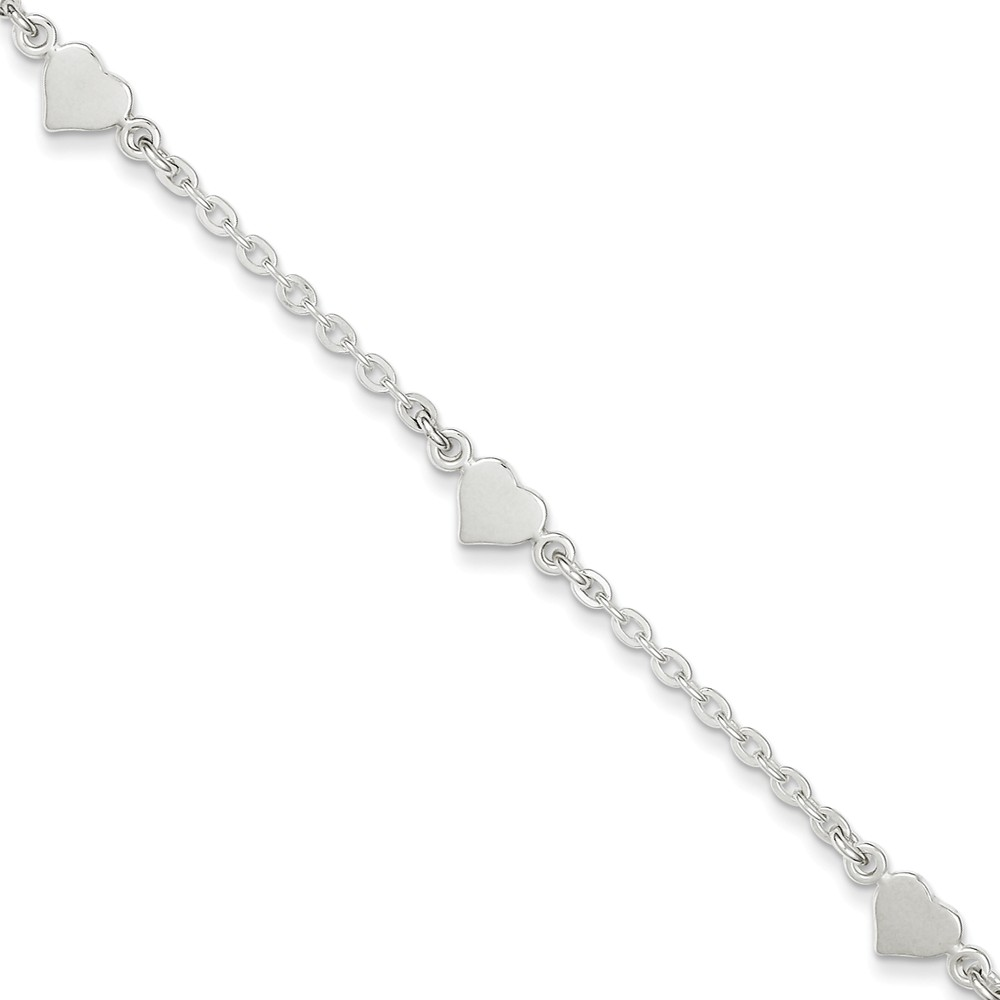 Sterling Silver 9 Polished Heart with 1in ext. Anklet