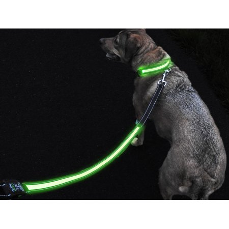 GlowHERO LED Light Up Dog Leash - The Original GlowLeash - High Visibility Durable and Reflective LED Pet Leash w/Padded Shock Absorbing Handle (Neon Green, 4.2ft) (Led Dog Leash Rechargeable)