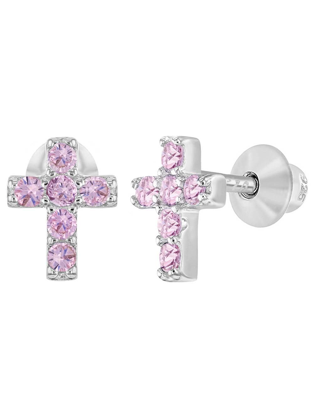 925 Sterling Silver CZ Kids Toddler Baby Cross Earrings Screw Back