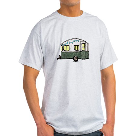 CafePress - Vintage Camper Trailer With Flags - Light T-Shirt - CP