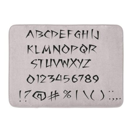 YUSDECOR Books Black ABC Ninja Handwriting Alphabet Calligraphy Rug Doormat Bath Mat 23.6x15.7 inch - image 1 de 1