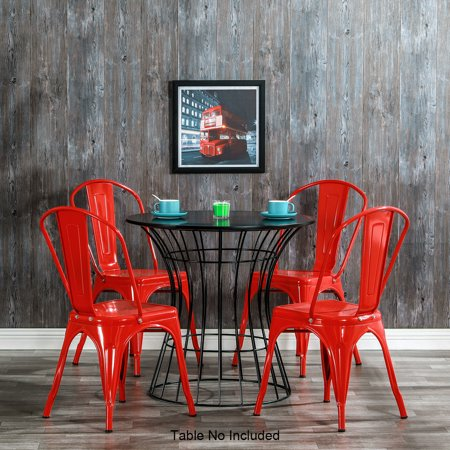Metal Dining Chairs Set of 4, Industrial Style Iron Dining Room Chairs with Back, Indoor/Outdoor Classic living Room Chair, Stackable Side Chairs for Bistro, Kitchen, Waiting Room, Cafe, Red, W5147 ()