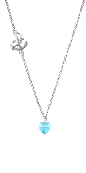 Blue Crystal Heart Delicate Anchor Necklace by Delight and Co.