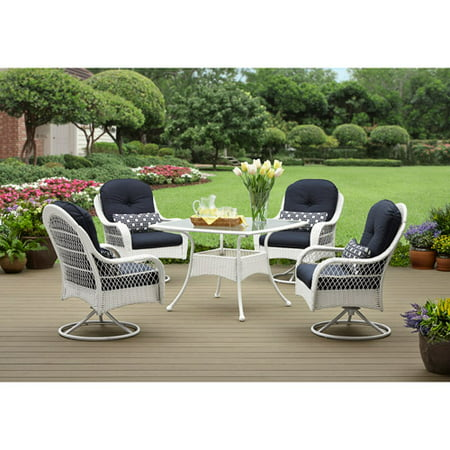 Better Homes And Gardens Azalea Ridge 5 Piece Patio Dining Set White Seats 4