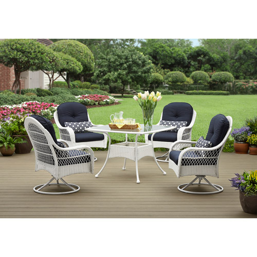 Better Homes and Gardens Azalea Ridge 5-Piece Patio Dining Set, White, Seats 4