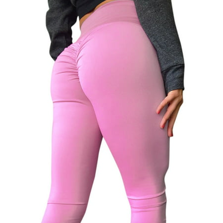 STARVNC Women Pleated Solid Color High Waist Yoga Pants Jogging
