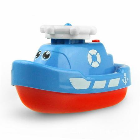 Electric Spray Water Boat  Fun Marine Animal Model Bath Toy  Floating Bathtub Shower Pool Bathroom Toys For Baby Toddler Blue