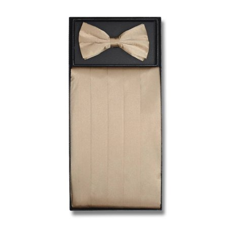 SILK Cumberbund & BowTie Solid BEIGE LIGHT BROWN Men's Cummerbund Bow Tie