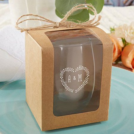 Kraft Stemless Wine Glass Gift Boxes Set Of 12