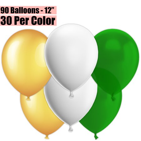 12 Inch Party Balloons, 90 Count - Metallic Gold + White + Emerald Green - 30 Per Color. Helium Quality Bulk Latex Balloons In 3 Assorted Colors - For Birthdays, Holidays, Celebrations, and More!!