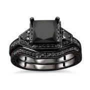 Noori Collection Noori 14k Black Gold 2ct TDW Certified Black Princess-cut Diamond Engagement Ring Bridal Set