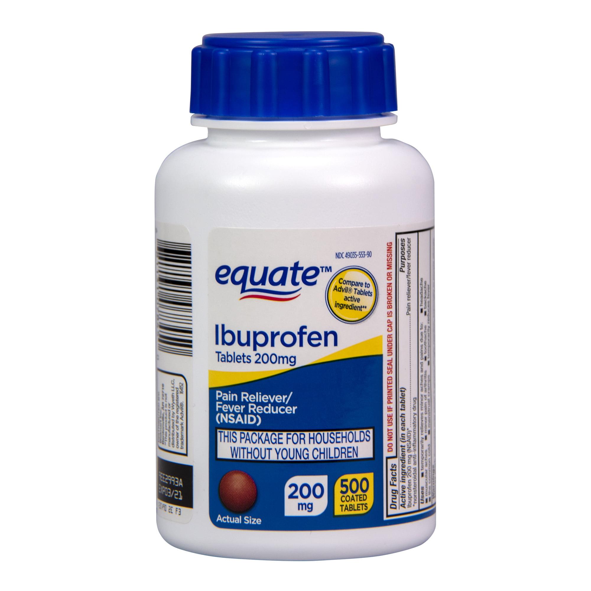 Equate Ibuprofen Tablets 200 Mg Pain Reliever And Fever Reducer 500 Count Walmart Com Walmart Com
