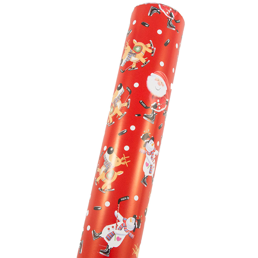 JAM Paper Premium Christmas Design Wrapping Paper, Double,Sided Mega Jumbo Roll, 366 sq ft., Hockey Holiday & Green Snowflake, Sold Individually