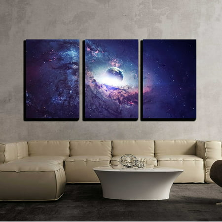 """wall26 - 3 Piece Canvas Wall Art - Universe Scene with Planets, Stars and Galaxies in Outer Space - Modern Home Decor Stretched and Framed Ready to Hang - 16""""x24""""x3 Panels"""