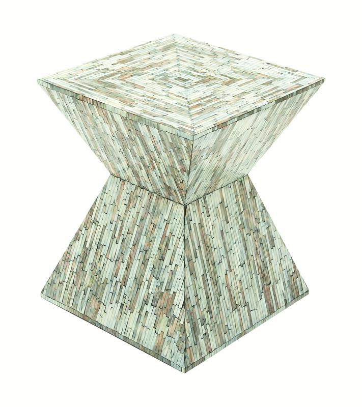 Decmode Contemporary 19 X 16 Inch Tapered Square Shell Inlaid Wooden Accent Table, Multi by DecMode