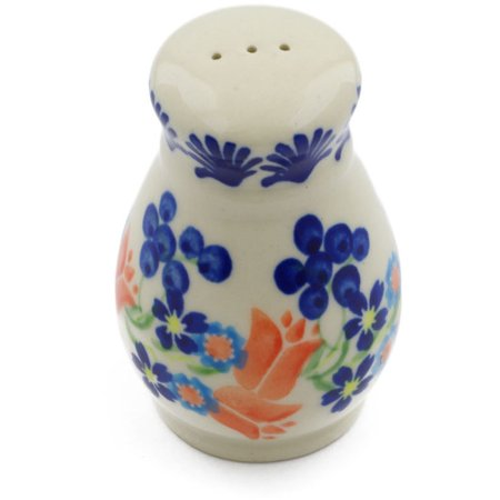 Polish Pottery 3-inch Pepper Shaker (Tulip Berries Theme) Hand Painted in Boleslawiec, Poland + Certificate of Authenticity