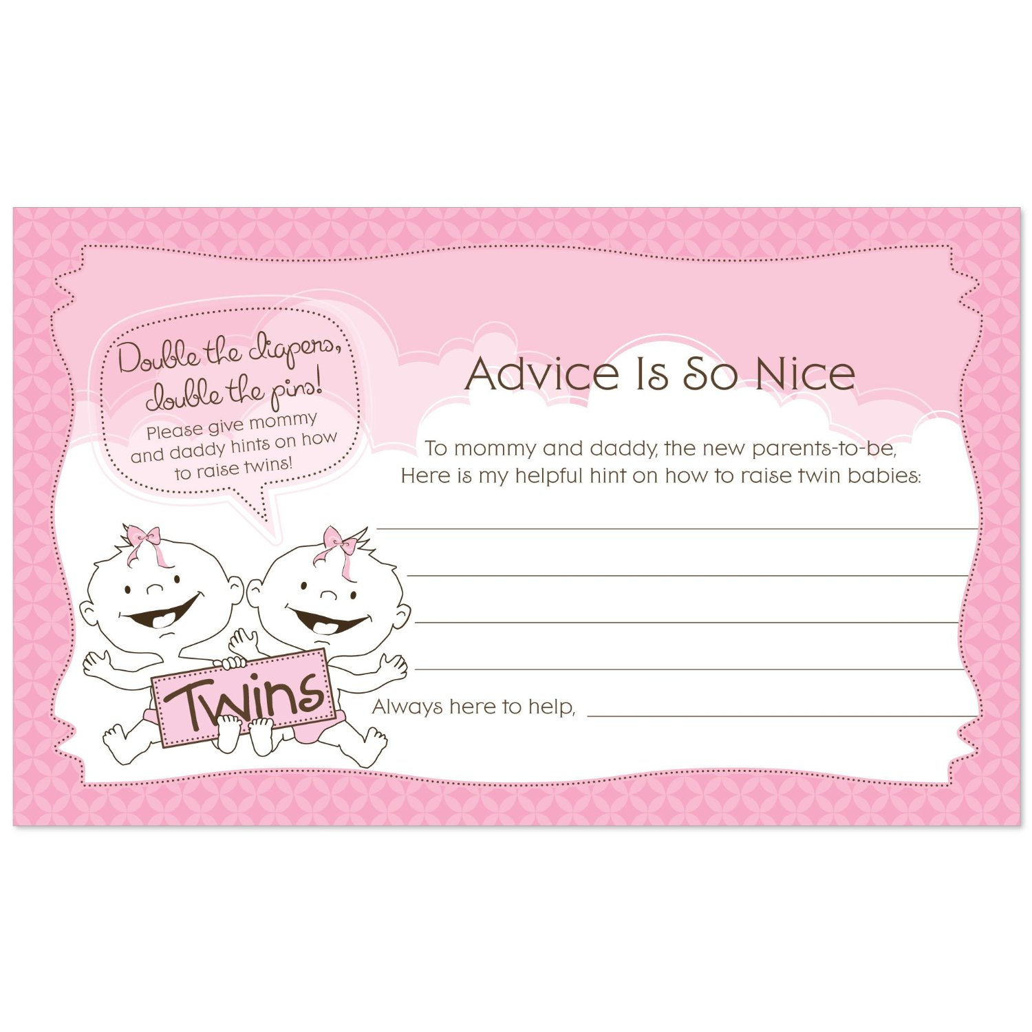 Twin Baby Girls - Baby Shower Advice Cards - 18 Count