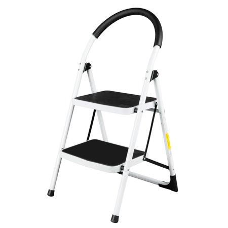 Zimtown 2 Step Platform Ladder White 330lbs Weight