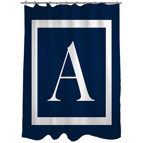 Thumbprintz Classic Block Monogram Blue Shower Curtain
