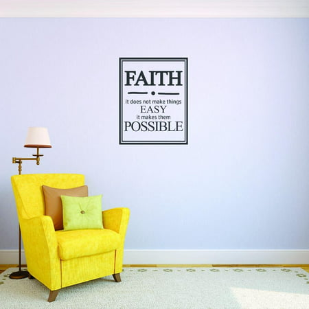 Custom Decals Faith It Does Not Make Things Easy It Makes Them Possible. Wall Art Size: 14 X 28 Inches Color: Black