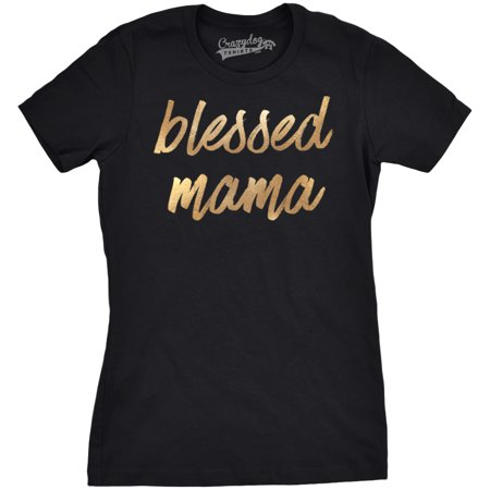 Womens Blessed Mama Tshirt Gold Script Shimmer Tee Mothers Day Shirt For Ladies - Blessed Day