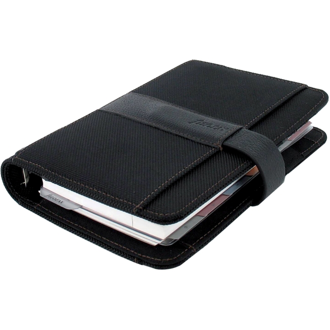 Filofax Fusion Microfibre and Leather Personal Organizer - Personal - Weekly - January 2017 till December 2017 - 6-ring - LeatherGrain, MicroFiber - Black - Reference Calendar, Tabbed, Bookmark Ruler,
