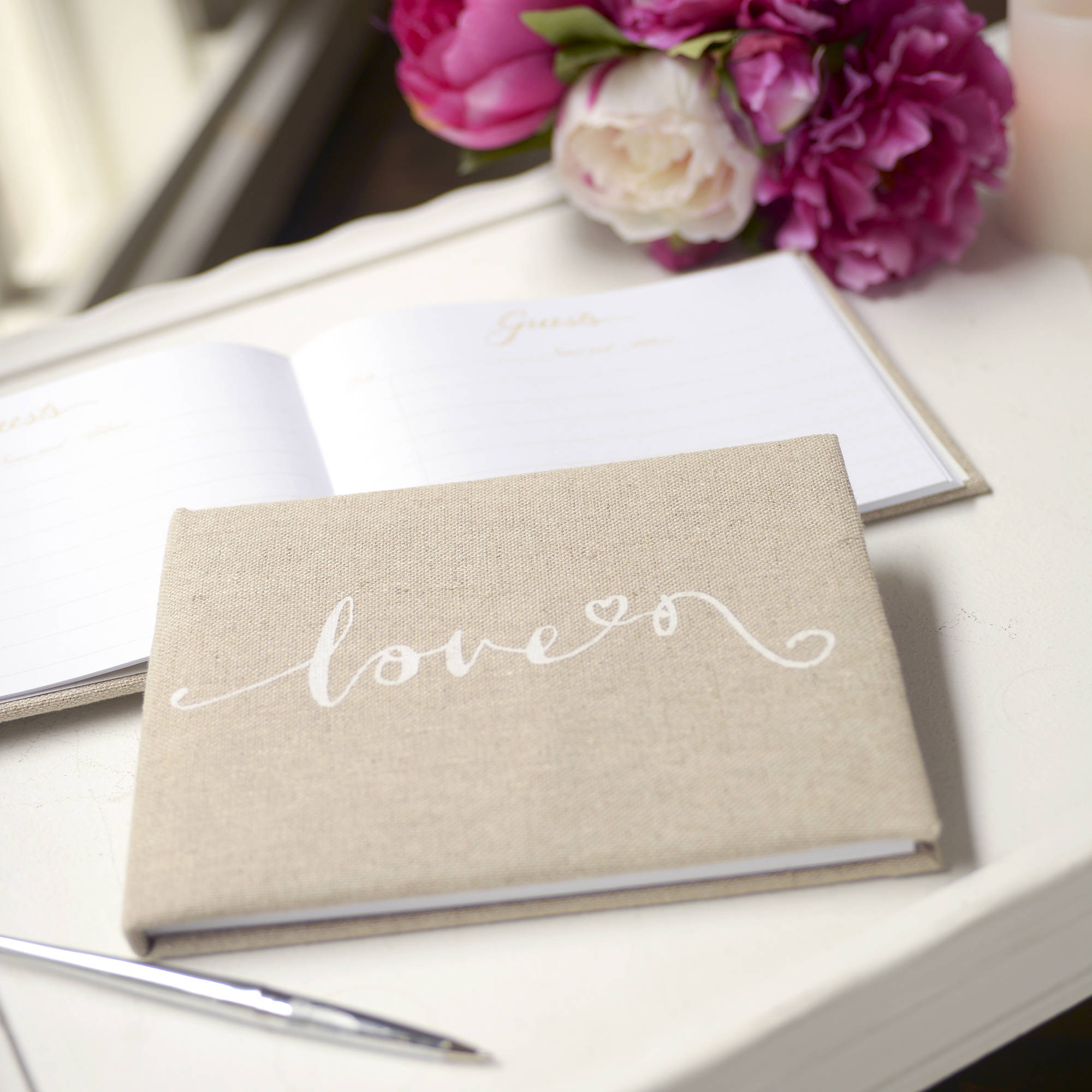 Script Love Linen-Covered Guest Book