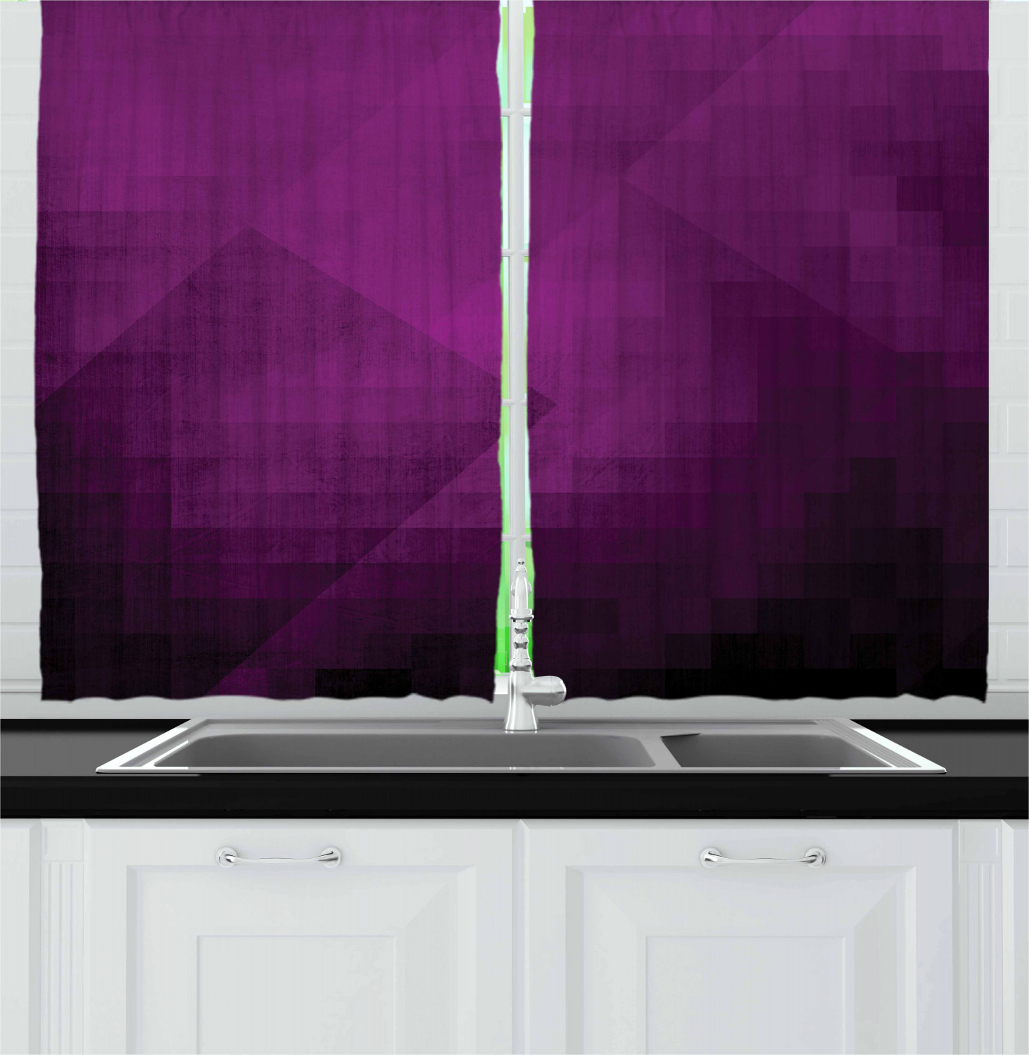 Eggplant Curtains 2 Panels Set Abstract Purple Squares In Faded Color Scheme With Modern Art Inspired Style Pixelart Window Drapes For Living Room Bedroom 55w X 39l Inches Purple By Ambesonne