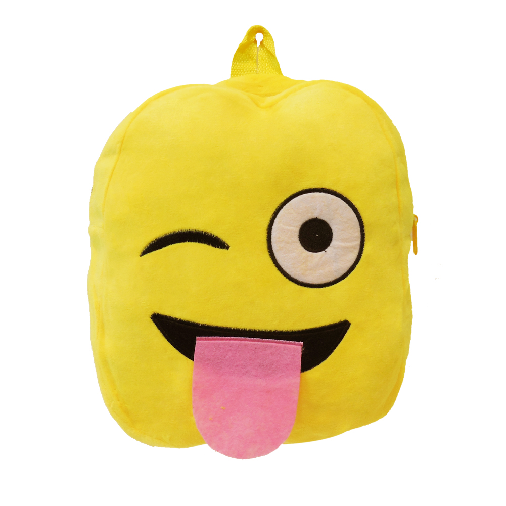 One Eye Closed Tongue Sticking Out Emoji Plush Backpack Funny Boys and Girls Shoulders Bag