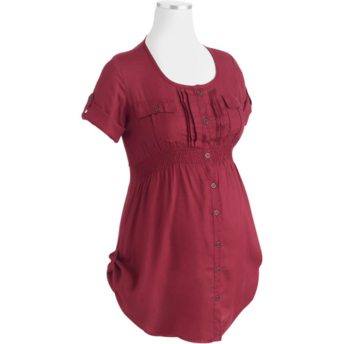 Maternity Woven Fashion Utility Shirt with Rolled-Cuff Sleeves and Shirring at Waist