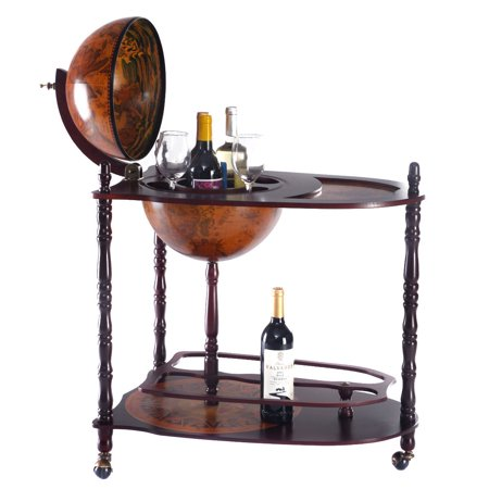 Costway Wood Globe Wine Bar Stand 34