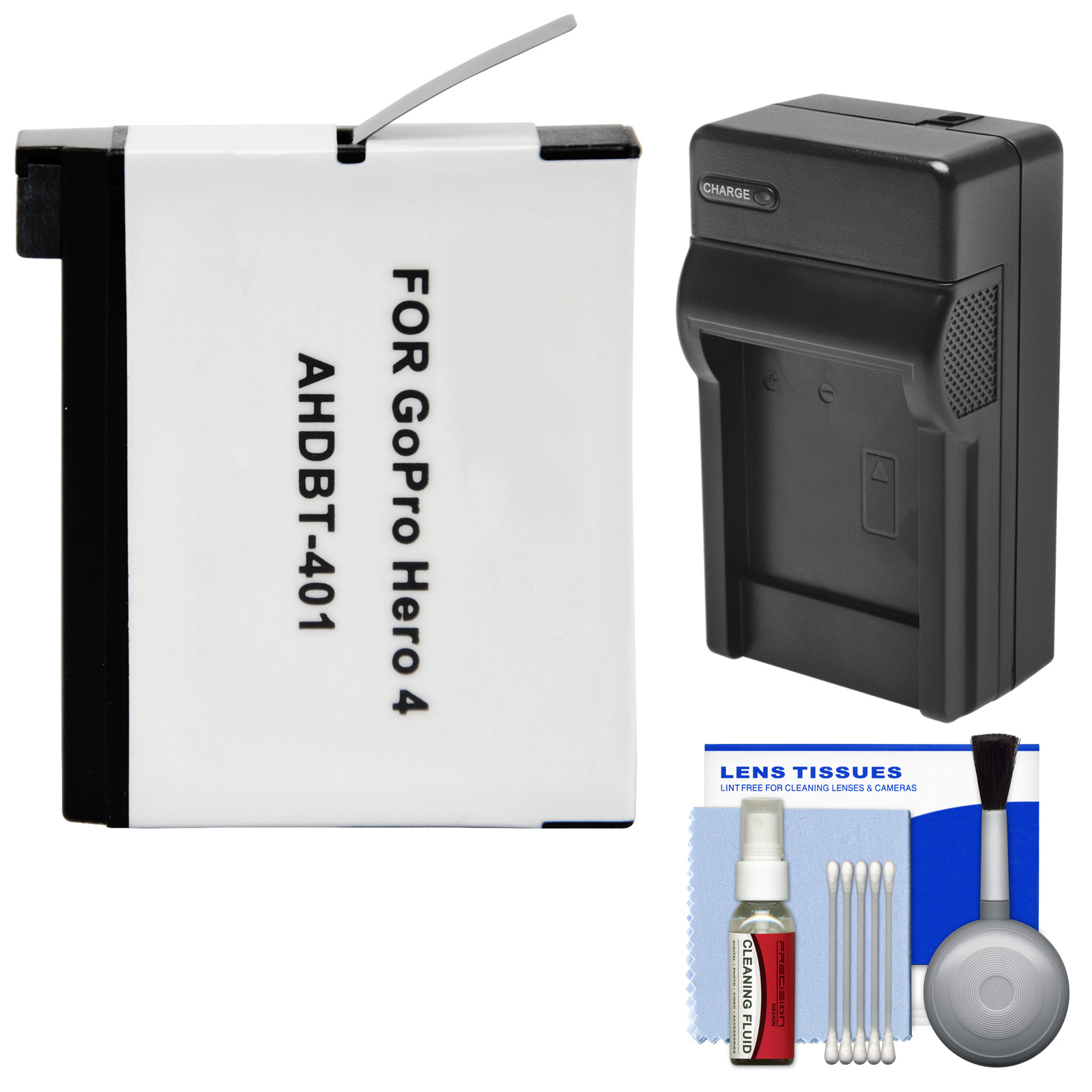 Essentials Bundle for GoPro HD HERO 4 Action Camcorder with AHDBT-401 Battery + Charger + Cleaning Kit