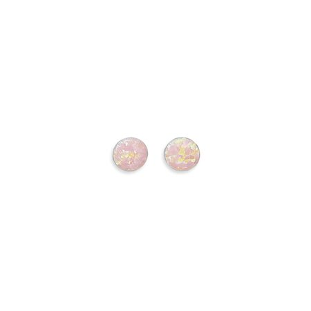 Childrens Sterling Silver Birthstone Earrings - Synthetic Pink Opal Stud Earrings Childrens Womens Teens 7mm Sterling Silver