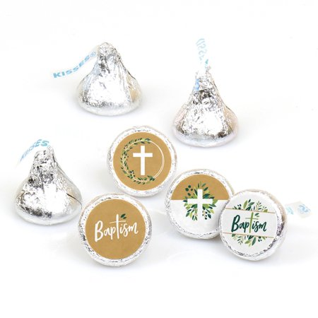 Baptism  Elegant Cross - Religious Party Round Candy Sticker Favors - Labels Fit Hershey
