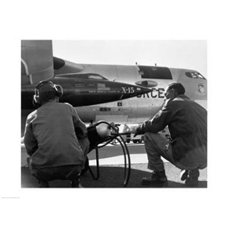 Rocket Research Plane (PVT/Superstock SAL25543867 Rear view of two men crouching near fighter planes  X-15 Rocket Research Airplane  B-52 Mothership -24 x 18- Poster)