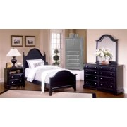 Youth Panel Bed w Nightstand & Dresser Set in Black Finish (Twin)