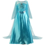 Girls Costume Blue Sequin Fancy Princess Dress Up for Birthday Party