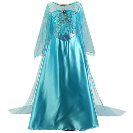Girls Elsa Costume Frozen Snow Queen Sequin Fancy Princess Dress Up for Birthday Party Halloween