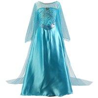 Girls Elsa Costume Frozen Snow Queen Sequin Fancy Princess Dress Up for Birthday Party Halloween