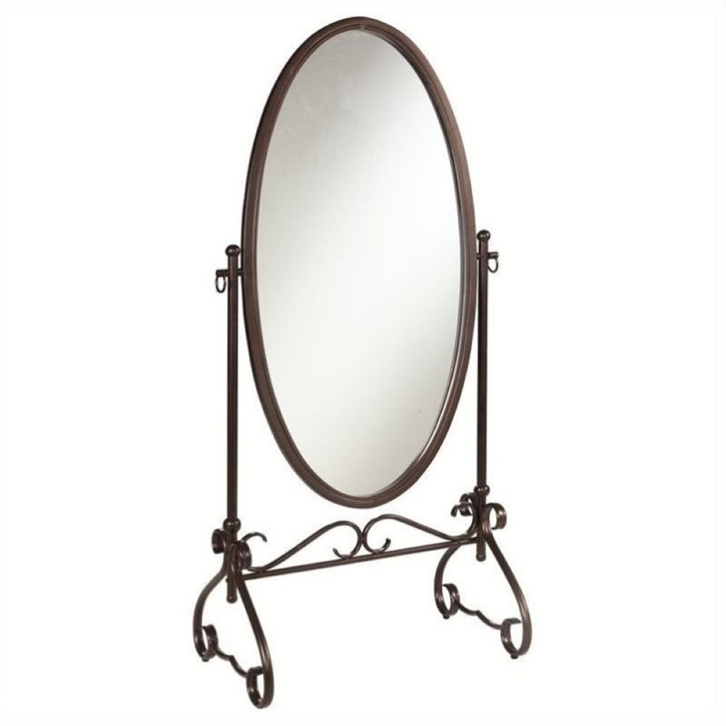 Bowery Hill Metal Cheval Mirror in Antique Brown by Bowery Hill