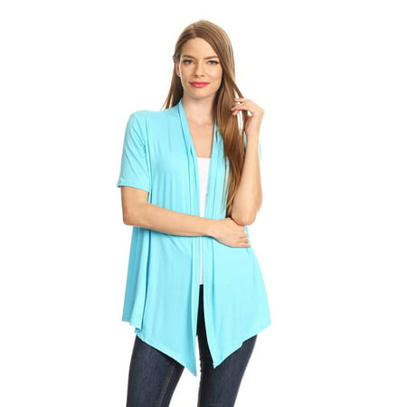 Women's Short Sleeves Open Front Solid