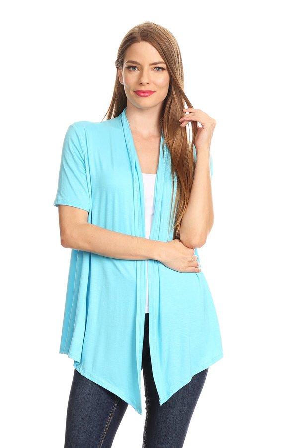 Women's Short Sleeves Open Front Solid Cardigan
