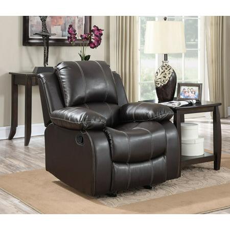 Dark Brown PU Leather Glider Recliner Chair