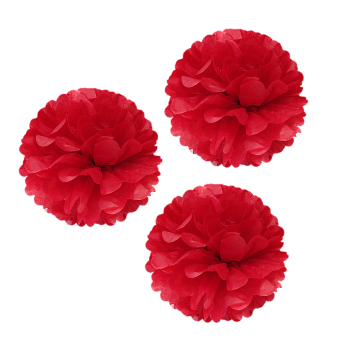 "Wrapables® 12"" Set of 3 Tissue Pom Poms Party Decorations for Weddings, Birthday Parties Baby Showers and Nursery Décor, Red"