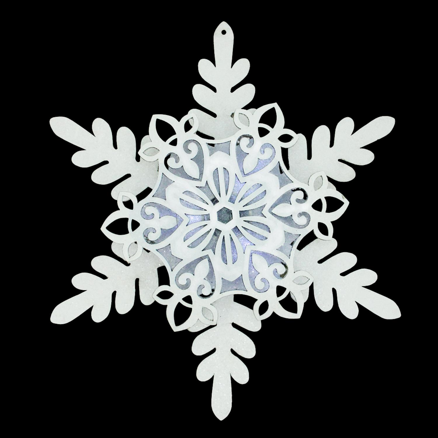 "12"" Snowy Winter LED Lighted Fleur-de-Lis Cut-Out Glittered Snowflake Christmas Ornament"