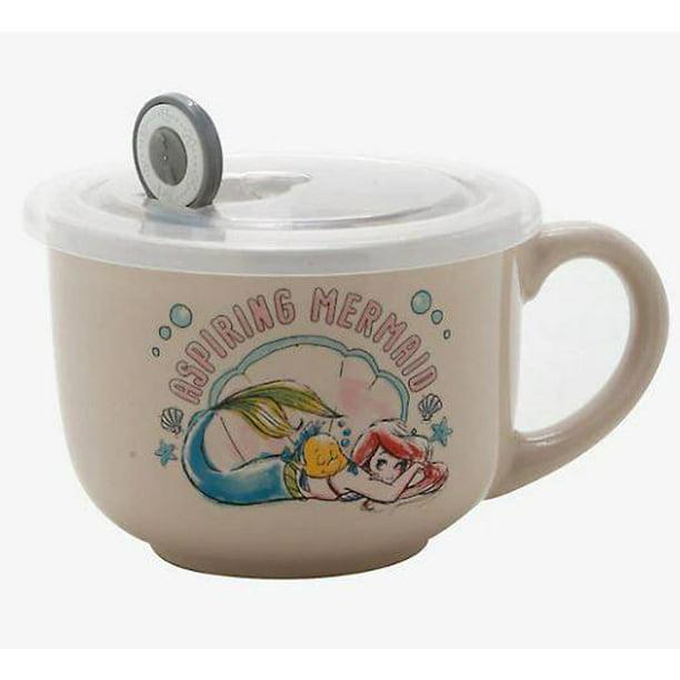 Disney THE LITTLE MERMAID ARIEL Soup Mug With Lid NEW
