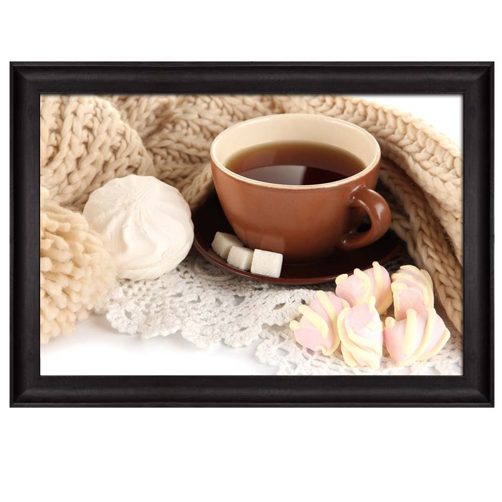 wall26 - Sugar Cubes and Marshmallows Next to a Coffee Cup Sitting on a Sweater - Framed Art Prints, Home Decor - 16x24 inches