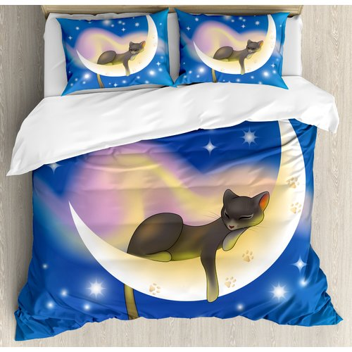 Ambesonne Cat Sleeping on Crescent Moon Duvet Cover Set