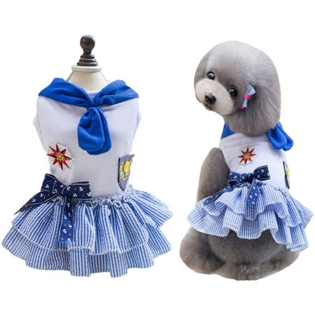 Classic Sailor Dog Skirt Small Pet Cat Tutu Dresses Puppy Clothes Costumes - Pet Costumes For Small Dogs