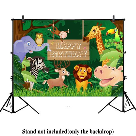 HelloDecor Polyester Fabric 7x5ft Jungle Safari Themed animals birthday party banner photo backdrop background photography (Soccer Themed Birthday Party Supplies)